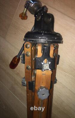 Rare Trépied En Bois Vintage Camera Ries Tilt Tête Modèle C Ambre Boutons