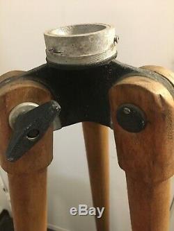 Rare Vintage Bois Arpenteur Trépied Télescope Antique Transit Niveau De Base De La Lampe 54