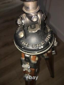 Rare Vintage Ries Camera Wooden Tripod Tilt Head Model C Amber Knobs