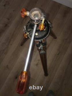 Rare Vintage Ries Camera Wooden Tripod Tilt Head Model C Boutons D'ambre