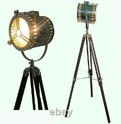 Recherche Nautique Spot Light Vintage Antique Style Lampadaire Withwood Article Trépied