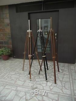 Set De 3 Designer Nautique En Bois Trépied-sol Lampe Ombre Stand Décor Vintage