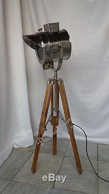Spot Rétro Design Antique Lampe De Table Nautique Vintage Trépied En Bois