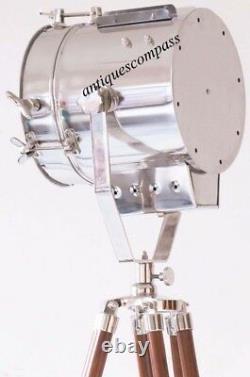 Spot Searchlight Lampadaire Avec Trépied En Bois Standiste Nautical Vintage