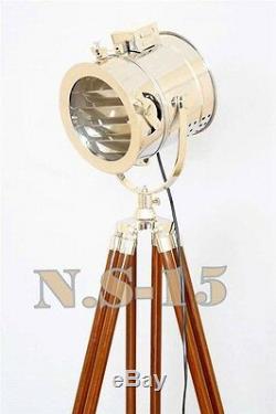 Style Antique En Bois Tripod Lampadaire Vintage Nautique Spot Light Marine Lampes