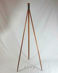 Superbe Antique Gadget Canne Vintage Bois Trépied Walking Stick 1920 Caméra