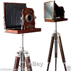 Support De Caméra En Bois Rétro Vintage Trépied Ancien Film Studio Décor En Bois