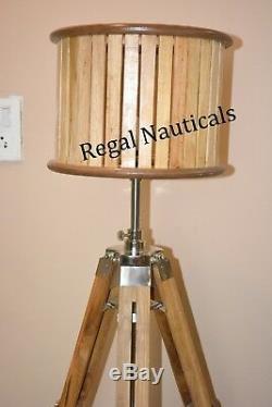 Support De Trépied En Bois De Lampe De Plancher Vintage En Bois Nautique Marine