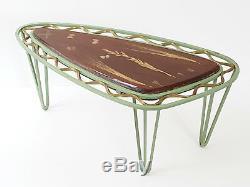 Table Basse Résine Supplémentaire Trépied En Métal Inclusions Herbier 1950 Vintage 50's