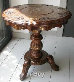 Table D'appoint Vintage Tri-pod Anglo / Indian En Laiton & Argent