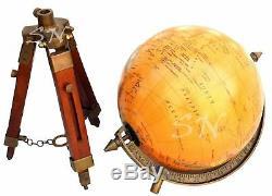 Table De Carte Du Monde Antique En Laiton Vintage Globe Ornement Avec Support En Bois