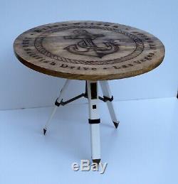 Table En Bois Vintage Style Nautique Ancre Et Trépied Décoration De La Maison De Thé Stand De Café