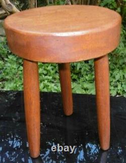 Tabouret Vintage 1960's Tripod Wood Solid Teak