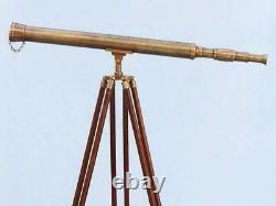 Télescope 39 Pouces Spyglass Vintage Antique Single Barrel Avec Trépied En Bois