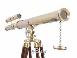 Télescope À Baril Double En Laiton De Marine Vintage Avec Support En Bois Pour Trépied