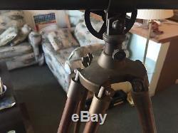 Télescope À Bibliothèque En Laiton Vintage Avec Base En Laiton Et Trépied En Bois