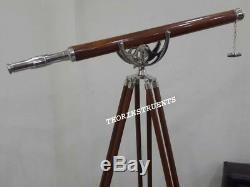 Télescope Antique En Laiton Avec Trépied Brun, Décoration Vintage