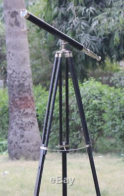 Télescope Au Sol Nautique En Laiton 39 Avec Trépied, Décor Marin Vintage