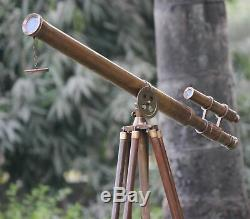 Télescope Au Sol Sur Trépied Maritime Laiton Lourd Vintage Vintage