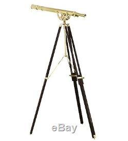 Télescope Debout En Laiton De Plancher Nautique 65 Port Principal De Trépied En Bois De Cru
