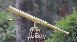 Télescope En Laiton À Baril Simple Avec Support Trépied En Bois Brun