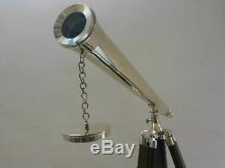 Télescope En Laiton Argenté Avec Trépied En Bois, Cadeau Décoratif Nautique Vintage