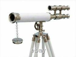 Télescope En Laiton Nautique Vintage De 18 Pouces Marine Navy Avec Support En Bois De Trépied 50