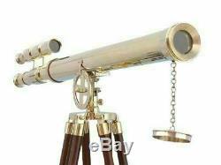 Télescope Marin Vintage En Laiton De Marine De Double Barrel Avec La Position De Trépied