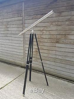 Télescope Nautique En Laiton Avec Trépied En Bois, Décor Maritime Vintage
