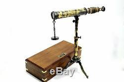 Telescope Nautique Vintage Spyglass Avec Trépied De Table Réglable En Coffret Bois