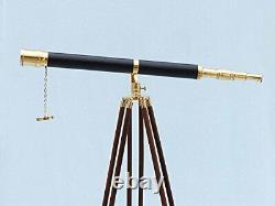 Télescope Vintage 42 Pouces Marine Black Leather Spyglass Avec Support En Bois Trépied