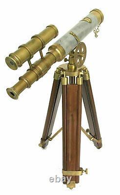 Télescope Vintage En Laiton 15 En Cuir À Double Canon Spyglass Avec Trépied Stand