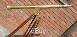 Télescope Vintage En Laiton Sur Trépied En Bois Nautique Maritime 60 Tall