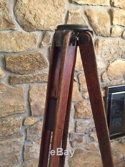 Trépied Arpenteur En Bois D'époque Contrôle De Niveau Antique Base De Lampe De Niveau De Transit 58