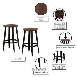 Trépied Chair Wood Vintage Backless Metal Counter Stools Round Foot Rest (2-pack)