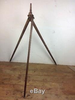 Trépied D'appareil Photo En Bois Antique Spot Vintage Stand Floor Floor Light Vieux