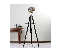 Trépied De Projecteur De Lampe Nautique Hollywood Vintage Vintage En Bois Noir