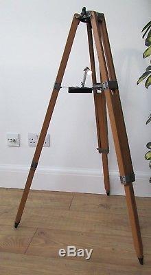 Trépied De Télescope Japonais Vintage En Bois Avec Plateau Lumineux. Idéal Pour L'éclairage