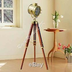Trépied En Bois Nautique Led Éclairage Lampadaire Vintage Style Antique Décoration