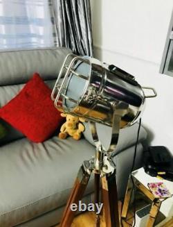 Trépied Floor Lamp Vintage Led Wooden Spotlight Nautical Antique Style Light