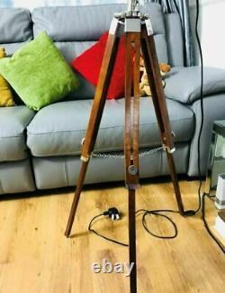 Trépied Floor Lamp Vintage Led Wooden Spotlight Nautical Antique Style Light Uk