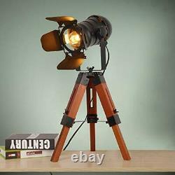Trépied Floor Table Lamp Vintage Wood Cinema Searchlight