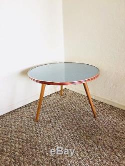 Trépied MID Century Plant Table D'appoint Table D'appoint Table D'extrémité Blue Gold Vintage Atomic