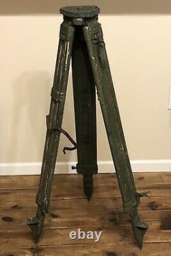 Trépied Militaire En Bois Vintage Olive Drab Green