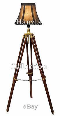 Trépied Nautique Vintage Lampe De Plancher Lampe De Studio Shade Trépied En Bois Antique