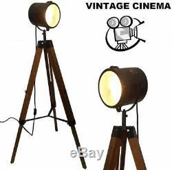 Trépied Projecteur Lampadaire Vintage Retro Industrial Light Éclairage En Bois Nouveau
