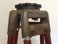 Trépied Vintage En Bois Surveyor Arpentage Réglable Base De Lampe De Niveau De Transit 58