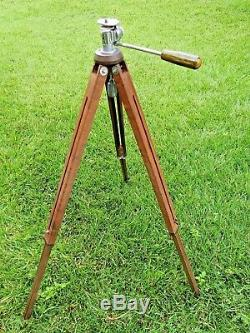 Trépied-appareil Photo En Bois Starite Vintage (robustesse / Solide) Avec Poignee Pan / Tilt En Bakelite
