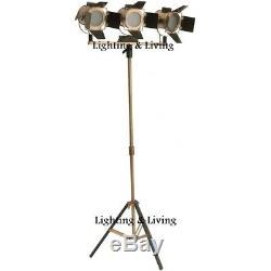 Two Tone Steel Triple Spotlight Stand Lampadaire Rétro Lampe Trépied Décor