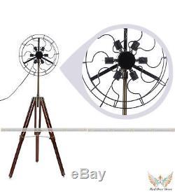 Ventilateur De Lampe De Ventilateur De Support De Sol En Laiton Vintage 6 Avec Support De Trépied En Bois Massif